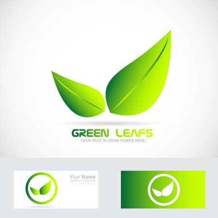 leaf logo: Vector company logo icon element template leafs green bio eco