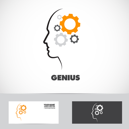Vector company logo icon element template of gear concept working mind genius intelligent