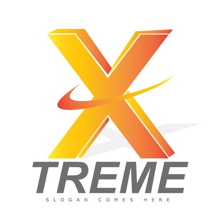 brand activity: Letter X 3d logo for an extreme brand manufacturer or activities