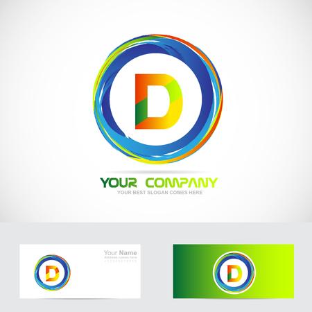 d: Vector company logo icon element template alphabet letter D colors