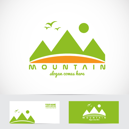 brand activity: Vector company logo element template green mountain for tourism, gear, apparel, outdoor activities, sport