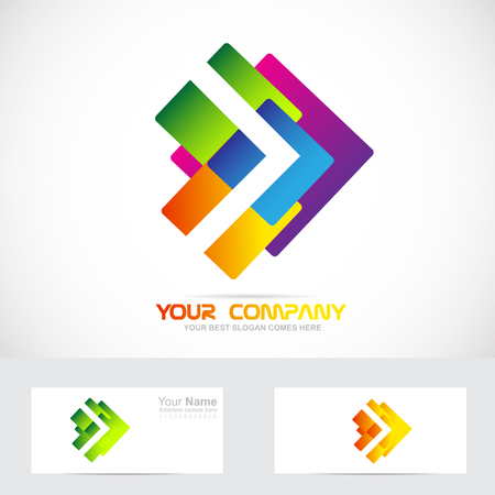 moving: Vector company logo icon element template of abstract colors arrow concept forward moving
