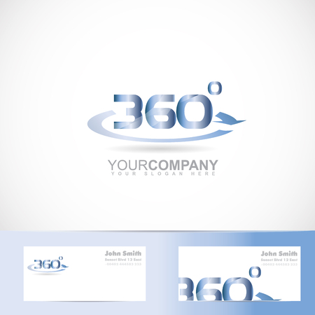 Vector logo template of 360 degrees text number