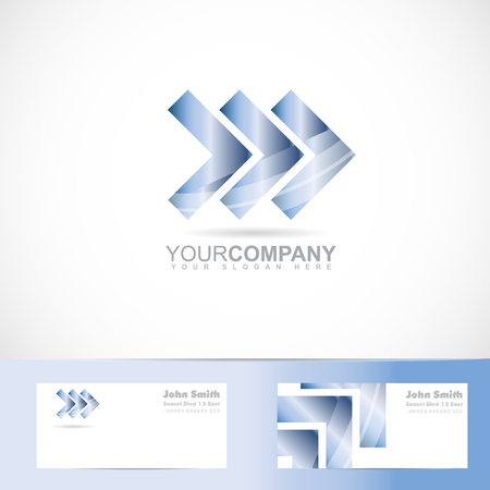 logo element: Vector logo template of three arrows forward advancing concept with business card Illustration