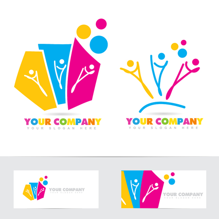 three colors: Vector logo template of three stylized people together. Symbol for party, communication, teamwork