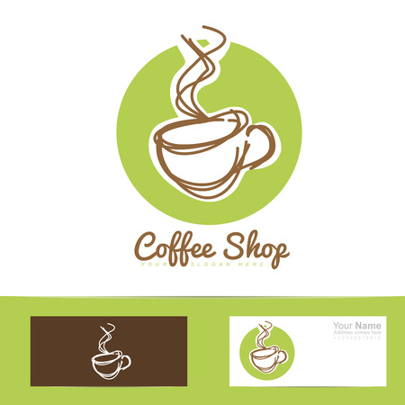 coffee company: Vector company logo element template of coffee cup stylized hand drawing