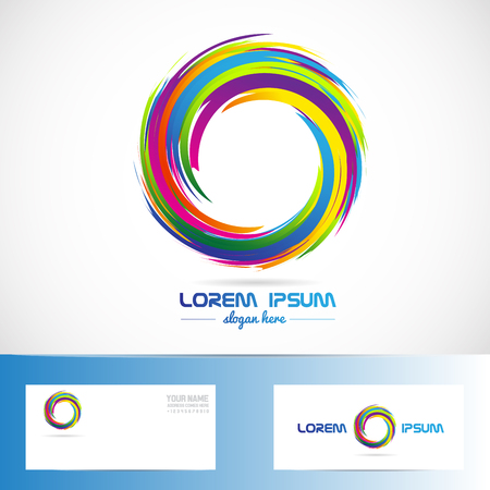 Vector company logo icon element template of abstract circle colors business media Illustration