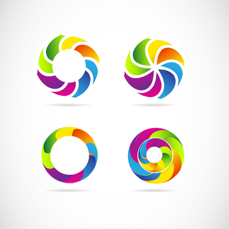 business it: Vector company logo icon element template corporate circle abstract set business it media