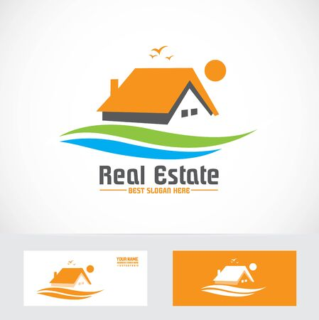 real estate house: Vector company logo element template real estate house orange icon