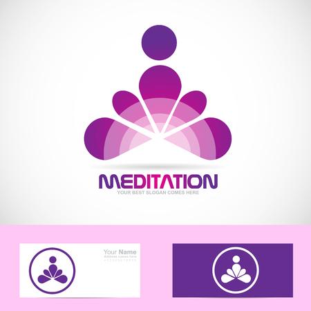 Vector company logo icon element template meditation meditator asana yoga zen Illustration