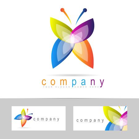 Vector logo modèle d'une icône de papillon abstrait