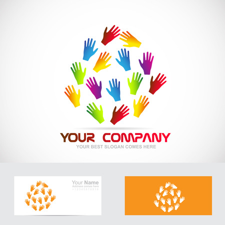 humanity: Vector company logo icon element template of colors human hands team teamwork humanity concept