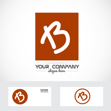 B: Vector company element template letter b hand written orange brown