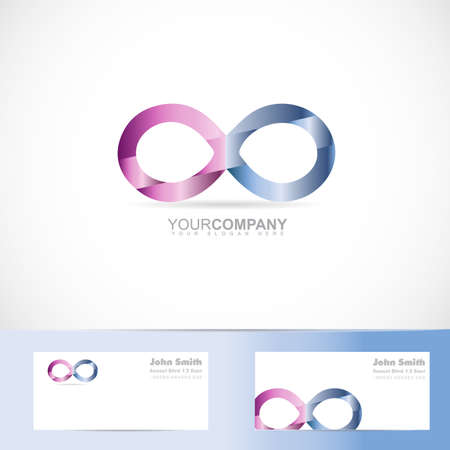 infinite: Vector template of infinite infinity sign 3d design concept with business card Illustration