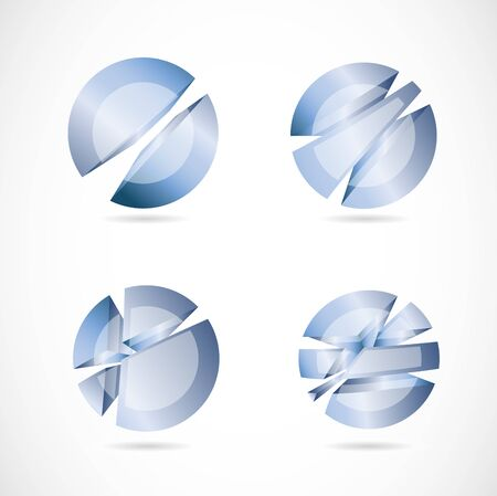 blue sphere: Vector template of a blue abstract circle sphere set Illustration
