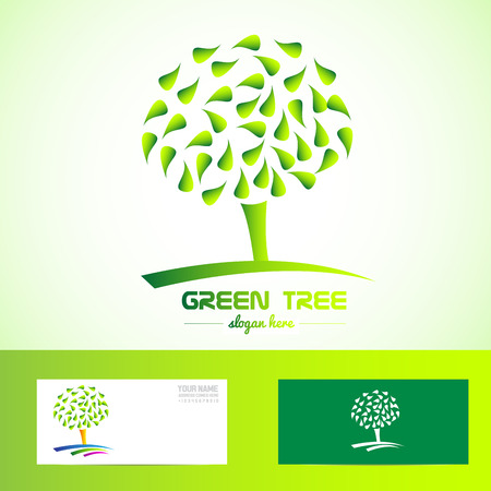 healty food: Vector company element template of a green tree for health, bio, eco, ecological products, vegan, vegetarian Illustration