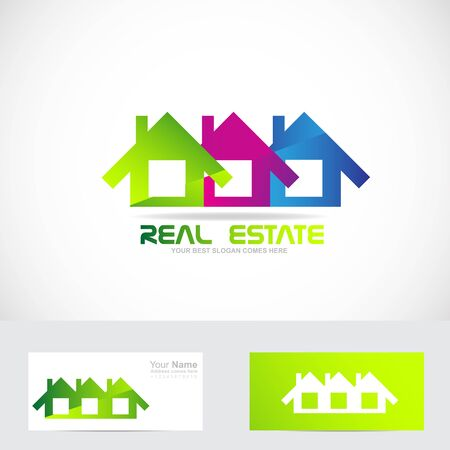 real estate house: Vector company  icon element template house real estate set Illustration