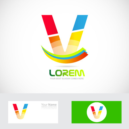 business it: Vector company icon element template alphabet letter V colors media it games business
