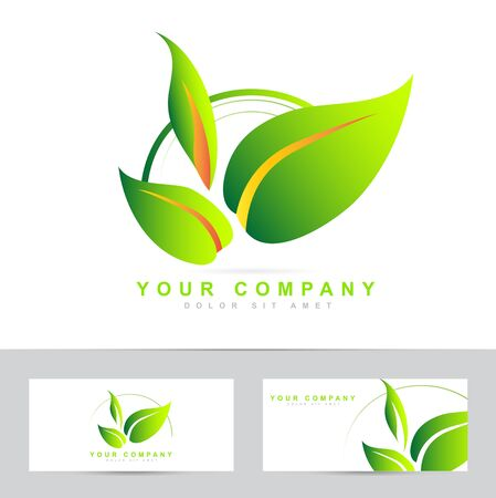 leafs: vector design of green leafs for bio or ecological products Illustration
