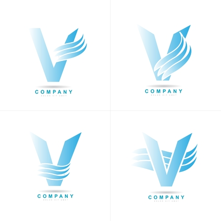 v shape: vector template of blue alphabet letter V Illustration