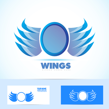 jewlery: Vector company icon element template blue wings badge