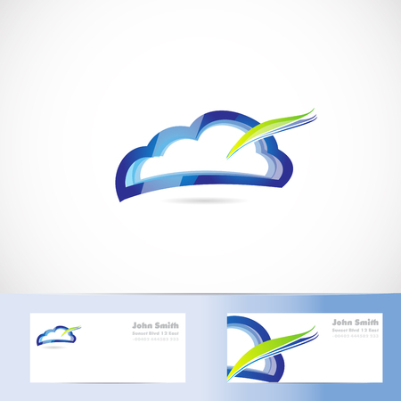 Vector Logo Template Of Cloud Computing Storage Shape With Business ...