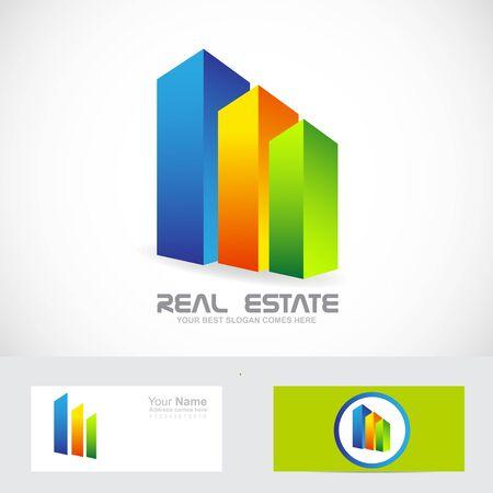 corporate building: Vector company logo icon element template  3d skyscrapers real estate concept Illustration