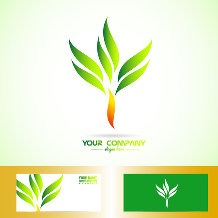 healty food: Vector company logo element template of a green orange tree for health, eco, bio, products, ecological, vegan and vegetarian