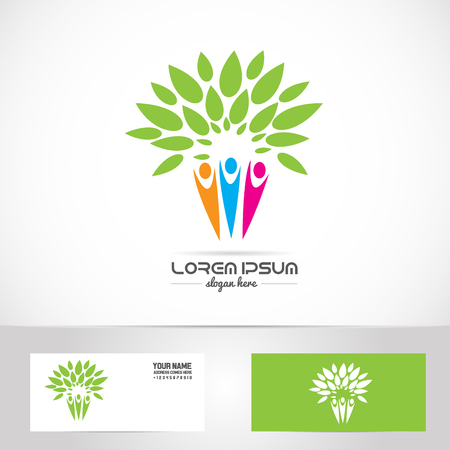gree: Vector company logo element template of family tree oarents children mother father kids concept unity harmony