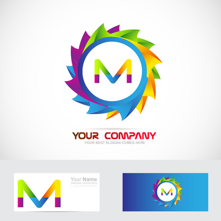 m: Vector company logo icon element template colors letter m