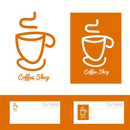 coffee company: Vector company logo element template of coffee cup shop hand drawing orange