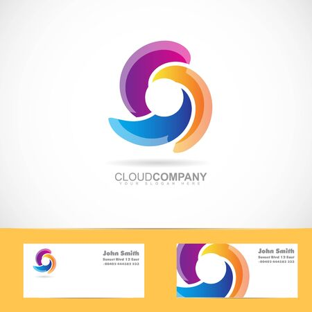 rotative: Vector logo template of a spiral swirl rotation logo with business card
