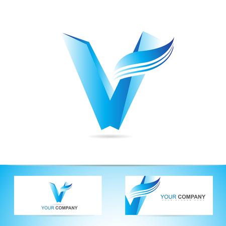 v alphabet: Vector logo template of blue 3d alphabet letter V