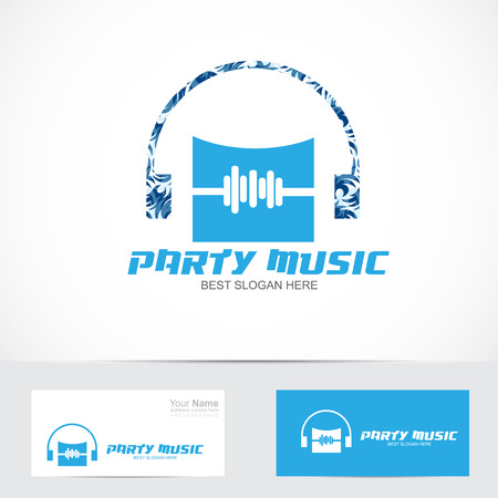 logo music: Vector company logo element template music logo party headphones volume icon Illustration
