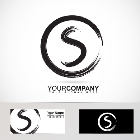 Vector company logo element template of grunge letter S circle 3d looking Ilustração