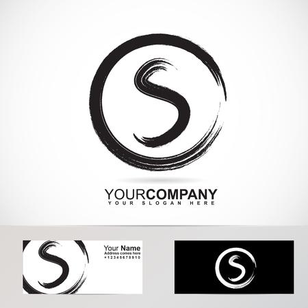 Vector logo élément modèle de grunge lettre S 3D cercle recherche Banque d'images - 49094152