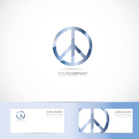 flower power: Vector logo template of peace flower power sign symbol with business card Illustration