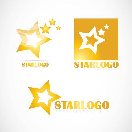 Vector logo template of yellow star set company design Illustration
