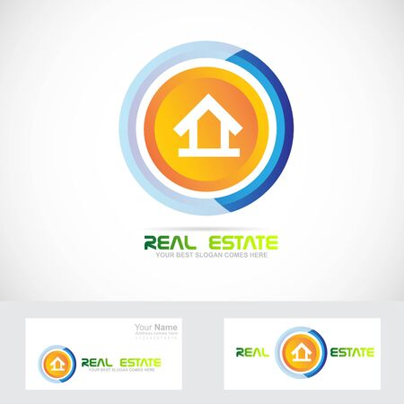 real estate house: Vector company logo icon element template real estate house residential Illustration