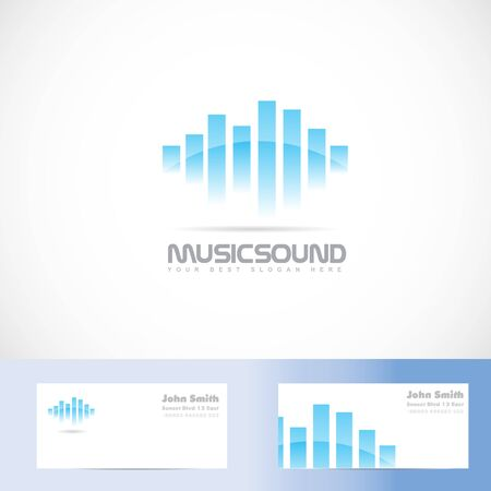 sound card: Vector template of music sound volume with business card Illustration