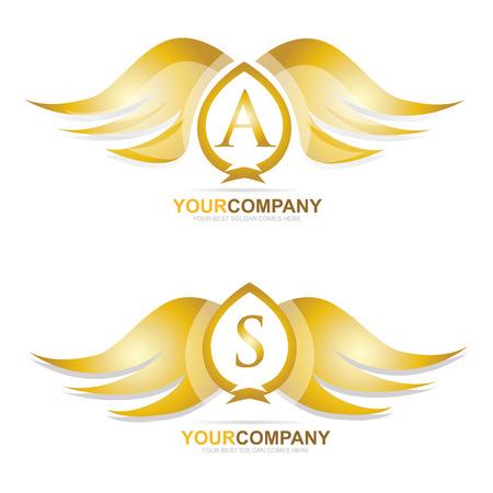 Vektor-Logo-Vorlage von gold Flügel-Logo-Icon-Set