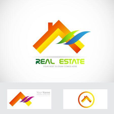 Vector company logo icon element template house real estate orange roof Logo