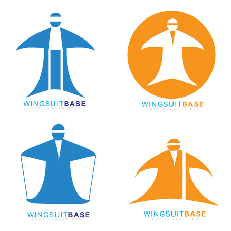 sport man: Vector template of wingsuit extreme sport base jumping