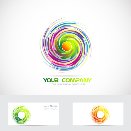 Vector company logo icon element template of swirl whirl whirlpool colors abstract rotation rotative