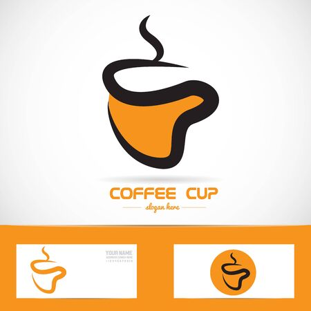 coffee company: Vector company icon element template orange coffee cup shape Illustration