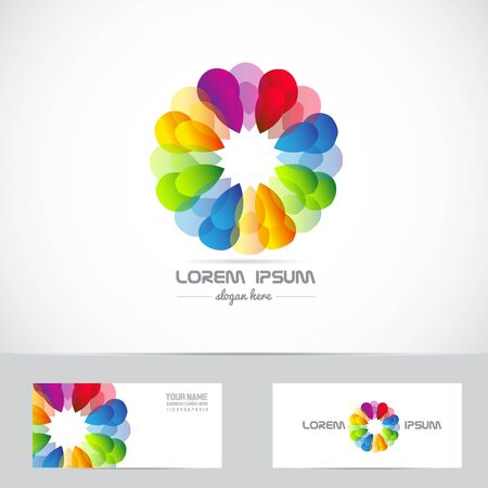 it business: Vector company icon element template corporate business abstract flower media it games advertising