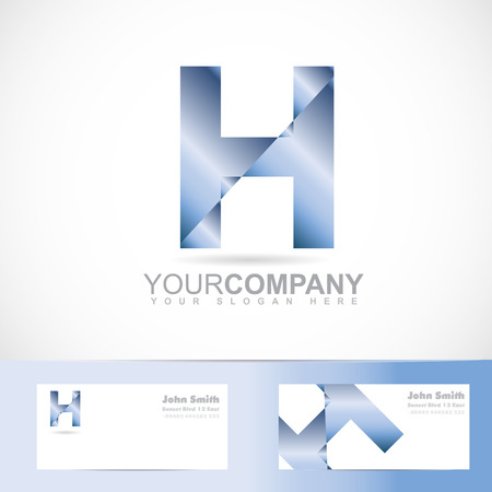 Vector logo template of alphabet letter h 3d with business card
