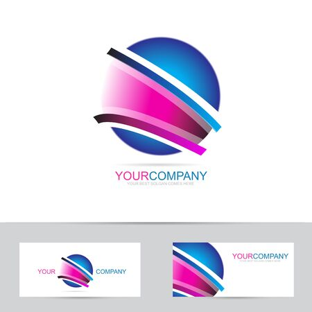 globe logo: Vector logo template of an abstract blue pink sphere or globe logo