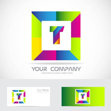 t square: Vector company logo icon element template letter t alphabet color square, games it communication