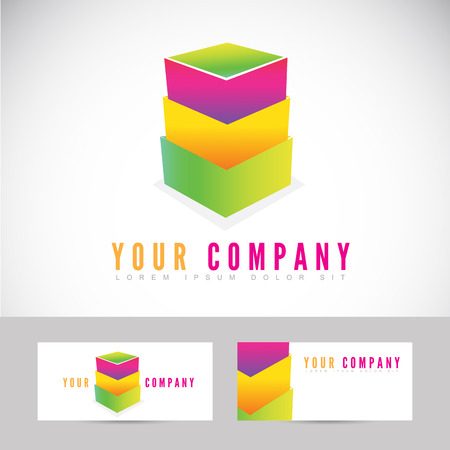 stacked: Vector template logo of stacked boxes with business card Illustration